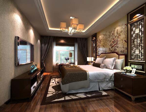 床头背景中式风的花格与一副花鸟壁纸图相搭配,使整个空间映衬着中式的气息,布艺质感的电视背景壁纸与其相称,朴实无华,又富有趣味。