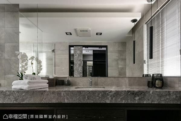 原境国际室内设计藉由饭店式风格,打造出精致时尚的顶级卫浴环境。