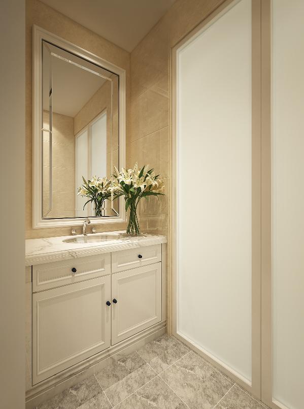 干湿分离,内外区域使用互不干扰;嵌入式浴室柜更美观整洁,墙面瓷砖拼花,配以造型镜,让卫生间干区成为家中一景。