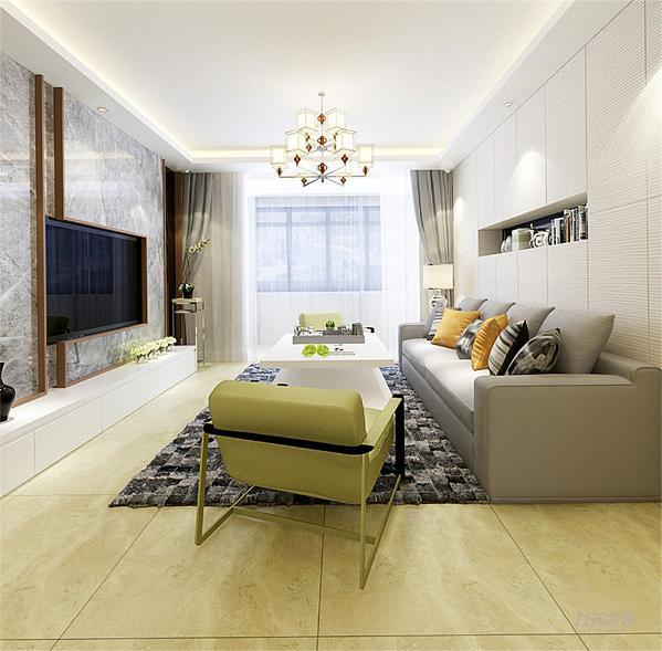 客餐厅运用的是八百乘八百的浅黄色地砖,突显出现代简约风格的简约而不简单的整体效果,在摆件上也运用了许多现代元素的饰品,突出整个房间的时代感