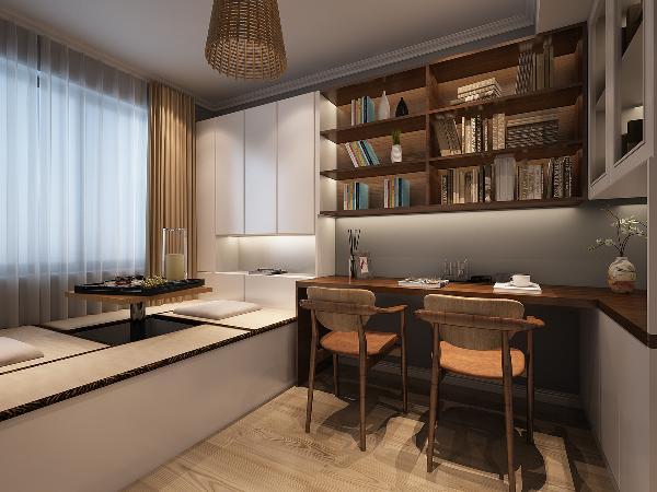 双人书桌给业主夫妇同时办公的空间,榻榻米的设计增加了书房的休闲功能,又让家里的杂物有了容身之地,也可以是临时的睡床。