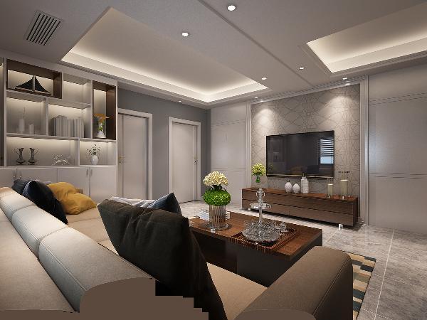 电视两侧的卫生间门和储藏室门被做成隐形门,和电视背景墙融为一体,非常大气,是客厅设计最突出亮点。