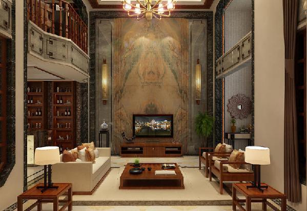 保利溪湖别墅400平中式风格装修客厅
