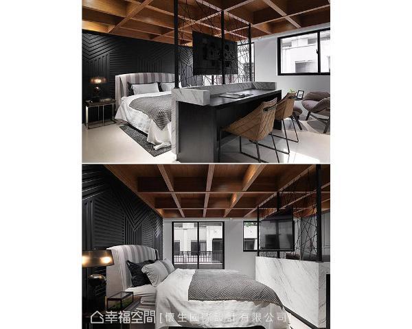 以深色调铺陈场域调性,搭配天与壁的线条堆栈,创造张力十足的视觉效果。