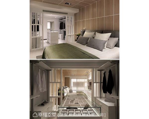 睡眠区旁以穿透隔屏隔出一间更衣室,并规划完善的衣物、配件收纳,打造机能齐备的便利生活。