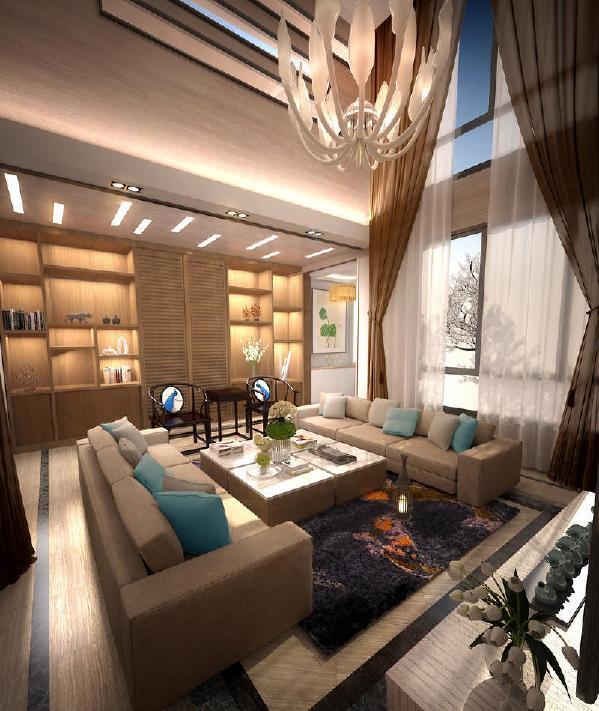 中航城别墅新中式风格装修案例