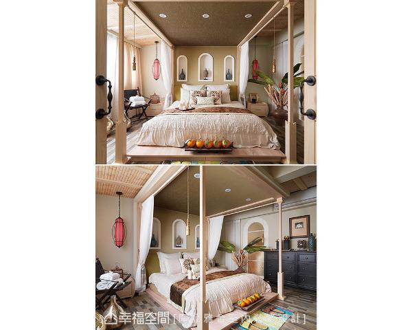 圆拱玻璃窗映入灿亮日光,L型延伸的泰式壁布与竹节壁纸拉阔放大空间,实现屋主躺卧四柱大床的峇里风情梦。