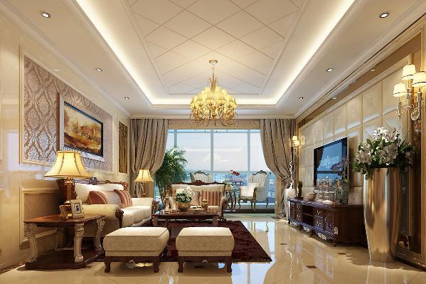 客厅餐厅以玄关分隔,入户门正前方设置端景台,成为进门亮点。棕色的家具和香槟色的装饰镜交相辉映,流露出欧式古典的奢华,精致的灯具、陈设增加细节美感。