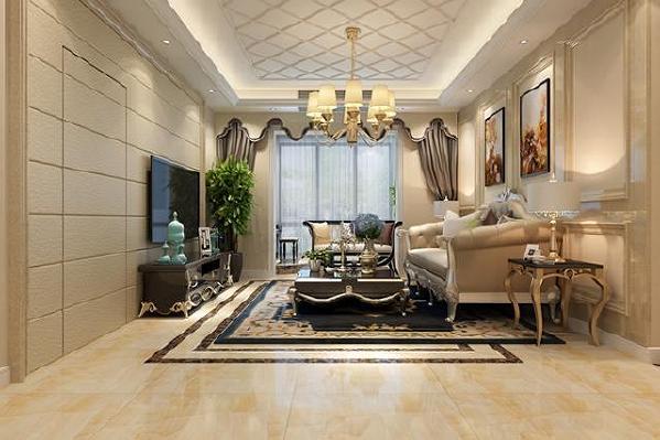 客厅整体色调以米黄色为主,家具方面:电视柜、茶几黑色,米色的布艺欧式沙发,更显高贵华丽,放上一盆绿植,让整个空间充满生机。