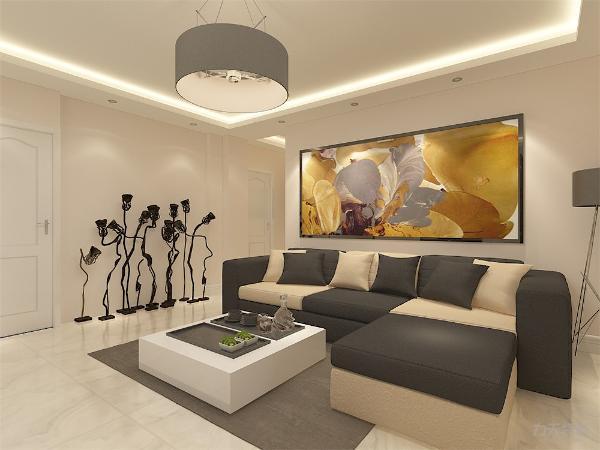 客厅中电视选择为挂式,背景墙为奶咖色乳胶漆,沙发背景墙悬挂大型艺术油画,简单大方,极具装饰性。家具装饰以白色为主,客厅放置L型布艺沙发,,一侧放置落地灯,客厅电视柜为黑色与方形茶几白色相对应。