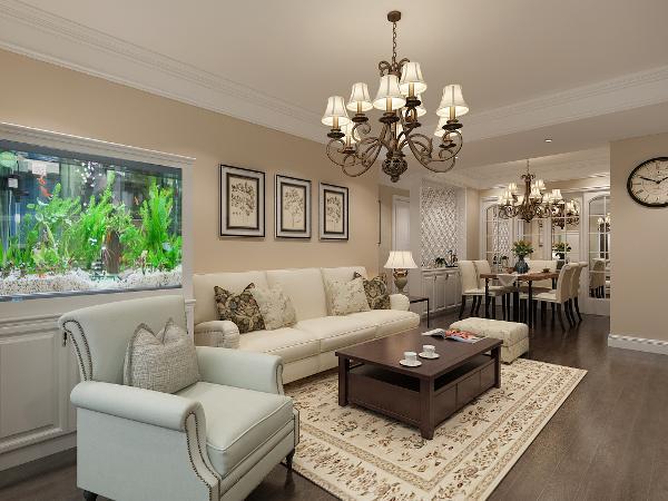 深米黄色墙面与窗帘、布艺、沙发的统一协调,再加之木色茶几和餐桌的稳重性,从而使得整个空间有张有弛,有章有序,有轻有重,充满着活力,使得整个空间更加富有情趣性。