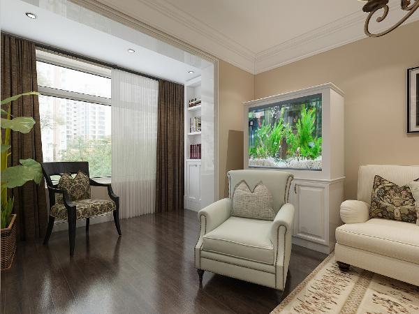 墙面灰黄色与深褐色地板,更加接近自然更加舒适。卧室阳台休闲椅打造的休闲阅读的空间,为主人打造一处惬意放松之地。