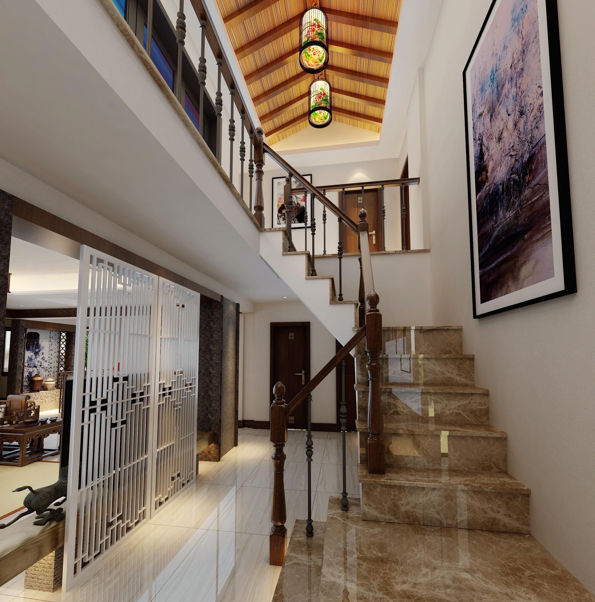 中式成都装修中式风格成都装修公跃层装修复式装修楼梯