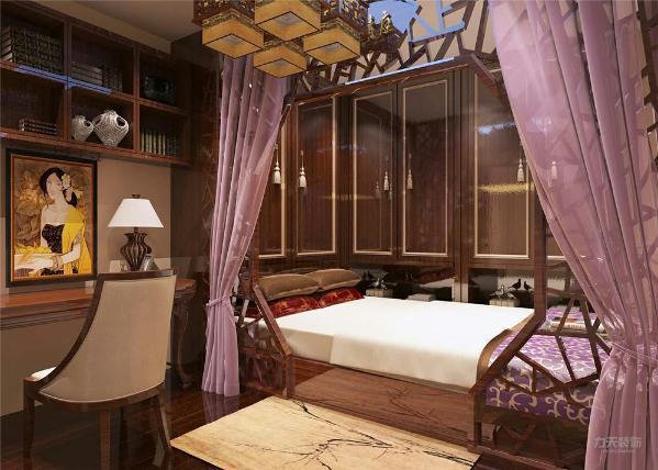 卧室是不仅是睡眠休息的地方,而且是最具隐私性的空间,所以本案的卧室设计整体以木色为主。软装方面选择了比较艳丽的白色床单、红色抱枕、紫色窗帘、黄色地毯作为搭配。