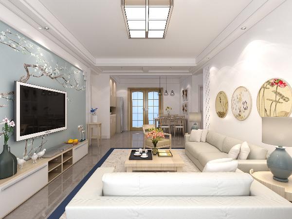 客厅原木色的家具与白色乳胶漆使整个空间看起来更加的协调。没有华丽的装饰,只有一颗从简的心,让温暖在每一幅的壁画中流淌;以一颗平常心,演绎着稍纵即逝的美;设计,出发的是心灵感受,回归的是生活。