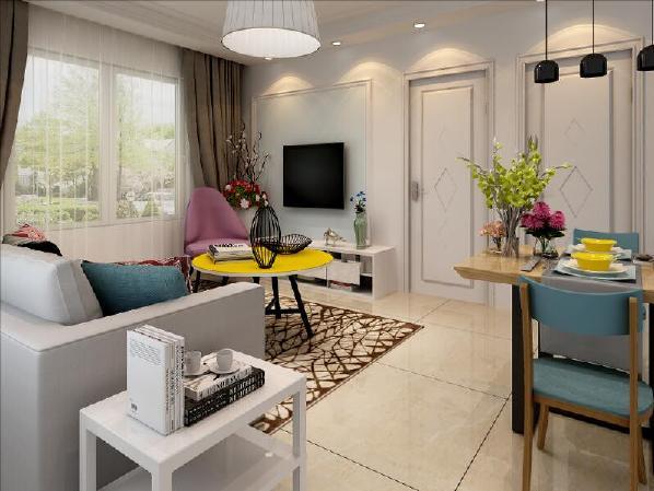 客厅色彩以简洁为主,电视背景墙使用了石膏线圈边,里面采用了淡天蓝色,突出效果。