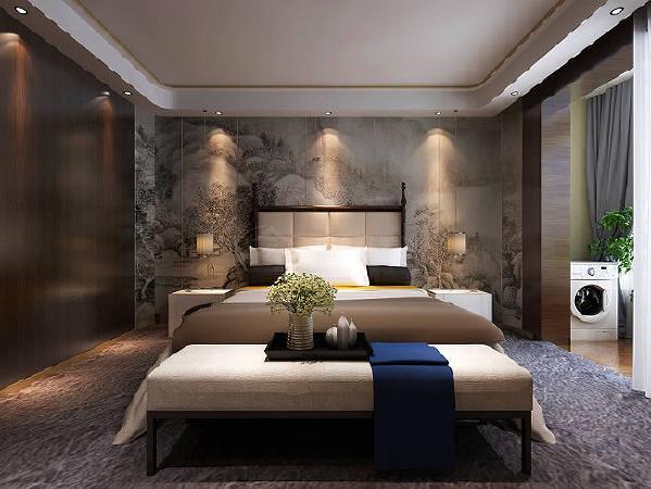 设计采用推拉隔墙把主卧与书房两个空间加以适当区分,形成一个隔而不断,分而不离的互动空间,惬意的、闲散的、成功人士的品质生活体验尽在其中。