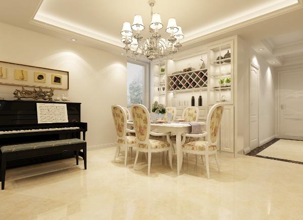 门厅棕色石材框边,搭配米黄色玻化砖,美观大方。米黄色大面积墙面,搭配暖色白边板式家具,烘托浪漫优雅氛围,局部跳色点缀,则让空间悦动起来,轻松愉悦。