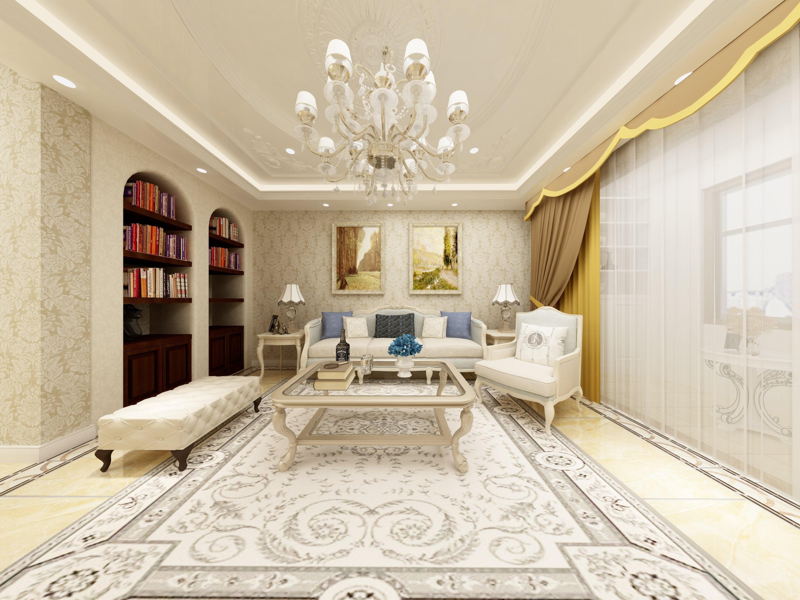 客厅吊顶采用了丰富的石膏线条来丰富顶面的空间,欧式