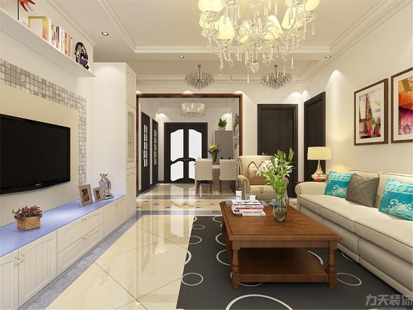 客厅波打线加斜拼瓷砖使整个空间更加丰富,美式深色茶几跟白色沙发相搭配。