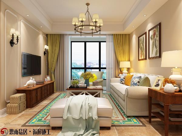 美式简约装修风格中,客厅采用暖色为主色调。充满美式元素的客厅吊顶让空间显得更加华贵。纯洁的白色沙发和淡雅的绿色窗帘,看似古旧的家具,正在勾勒居室此处的语调。