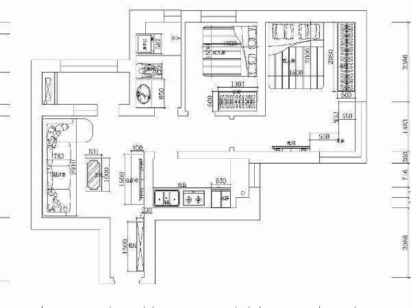 这是一个两室一厅54平米的小户型,室内动线为L形,空间都沿动线排布。客户没有特别的要求所以没有做户型的拆改。