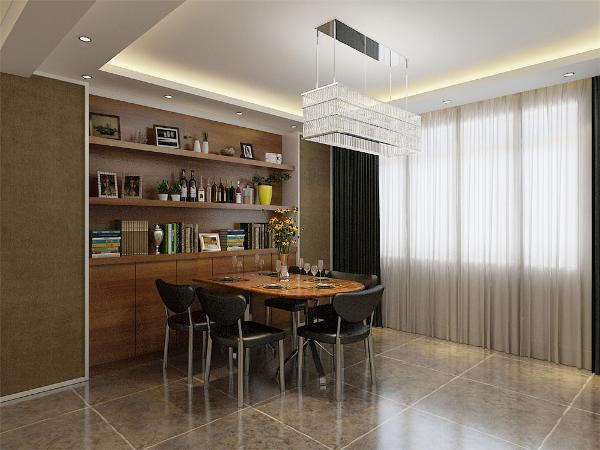 餐厅没有背景,用酒柜装饰,简单大方,增加装饰性,既美观又实用。