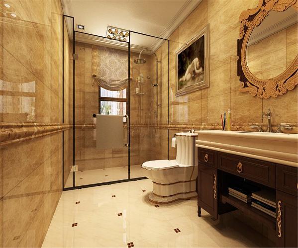 卫生间有浴室柜的设置,起到了干湿分离的作用