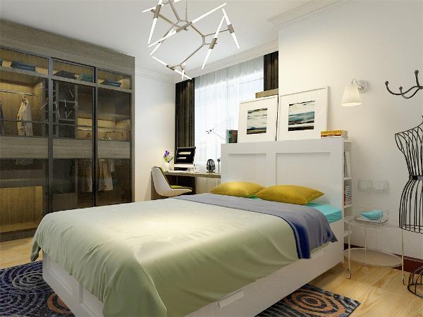 次卧、整体感觉和主卧一样,具有统一性。整个设计和谐统一,给人以温馨舒适的感觉。