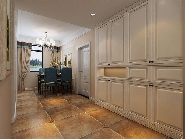 玄关有储物柜的设置,节省了储物空间也合理利用了玄关的空间