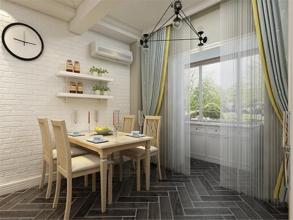 餐厅背景墙用隔板做装饰,简单大方,增加装饰性,既美观又实用。