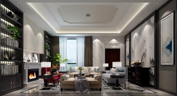 一层客厅,一组很清新的沙发搭配,即有融入环境中淡淡的素色,又有抢眼的亮紫色。