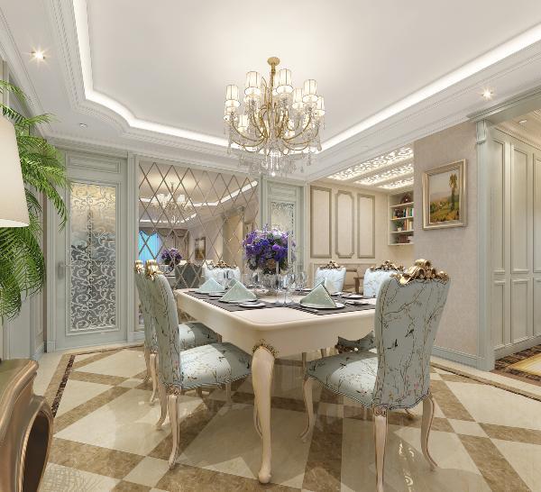 餐厅的西侧造型墙同样选择了整体对称的手法,这里是把厨房门和卫生间门来做呼应处理,选择了一款镂空雕花木格玻璃门造型,两扇门之间用切边镜面做装饰
