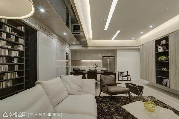 一字型设计将客厅、餐厅及厨房空间整合,呈开阔通透的视觉感受。
