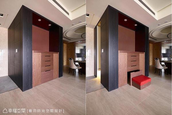 将佛龛后方规划为储藏室,善用空间且一体成形的设计,让场域的使用弹性发挥至极。