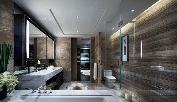 卫浴采用的干湿分离的设计,它的地板跟墙面的瓷砖样式是一样的,形成了一个暖暖的卫生间,洁白的天花板让整个空间明亮了许多。