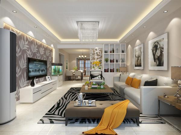 客厅采用现代简约的设计手法,回字形吊顶加射灯,电视背景墙是壁纸加石膏圈边,浅颜色的地砖显得非常干净