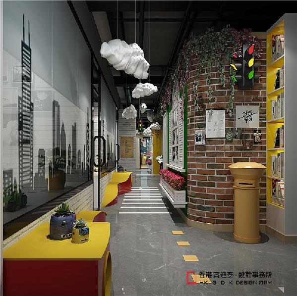 """过道设计成这座""""奇异城市""""的街道,两边是各种虚拟的楼房和商铺,每个不同的商铺和楼房对应不同主题风格的教室,整个教学环境就像一个全新的世界。让学习变成一种玩乐,用好奇心去学习。这是""""概念城市""""设计核心"""