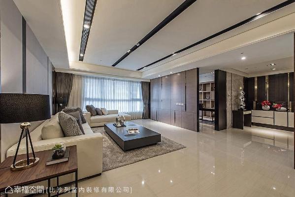 业主希望朝现代招待会所方向设计,故玄关、客厅、餐厅及书房皆以通透形式呈现,串联大空间提供宾客活动。