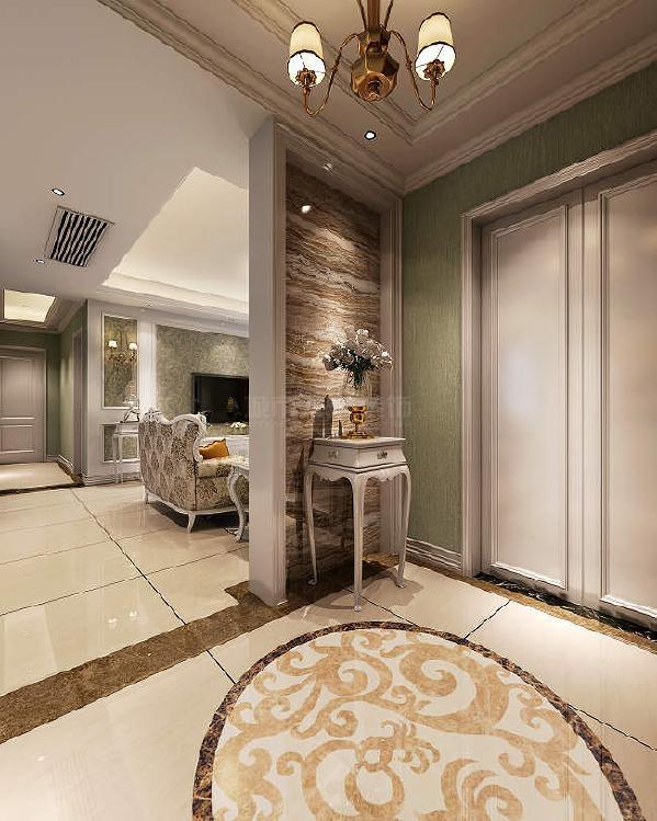 门厅地面拼花呼应顶上造型,在住宅的门面位置就将温馨气氛渲染的浓淡相宜。