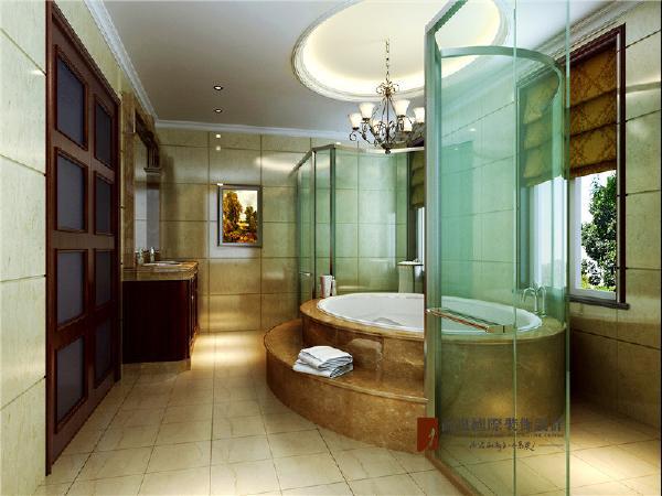"""主卧室卫生间圆形浴缸的设计,使主人在其中沐浴感受的舒适与享受。那就是一个字""""爽""""。"""