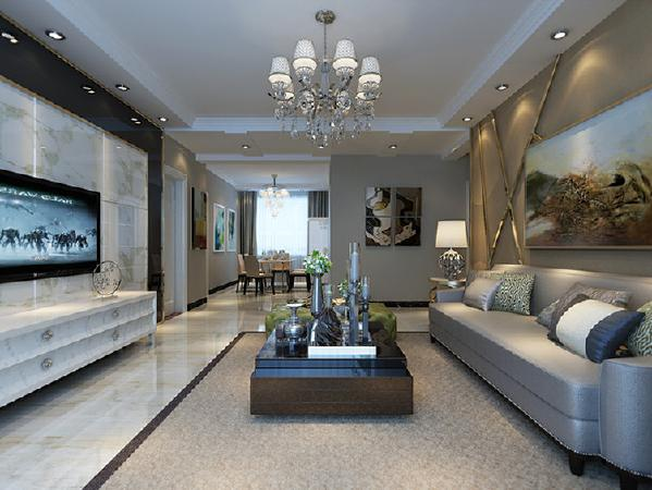 走廊采用石膏板凹凸造型错落,延伸到电视墙。
