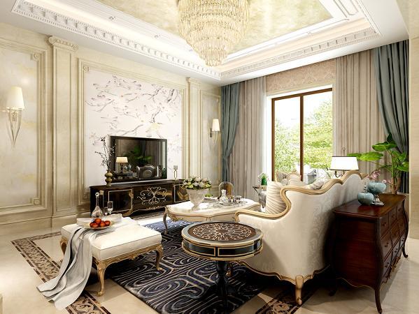 客厅是家庭会客区域,所以在客厅上增加了更多的装饰,使空间更加奢华。电视背景墙采用了玉石,通过石材的自由纹理,来展现空间的自在。