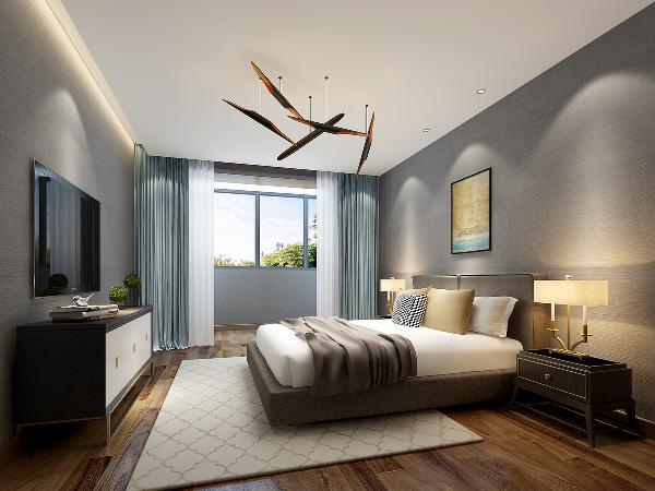 整体空间凸显简洁舒适,运用偏暗色调,而窗帘用蓝色跳色,彰显空间活力。灯光方面,电视上方有暖灯带。当人们晚上看电视时,打开灯带,能降低电视光线的尖锐度。