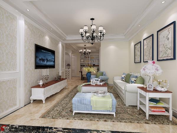 空间的整体色调以白色、淡色为主,浅色花纹的电视墙壁纸,白色的家具,再搭配铁艺枝灯,营造出典雅、自然、浪漫的情调。