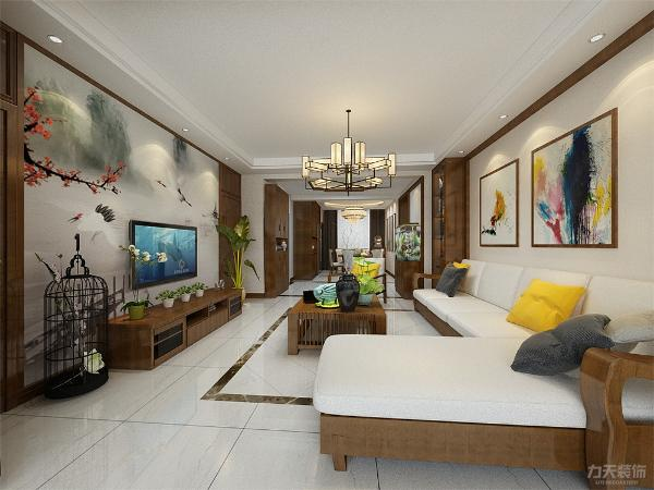 在装饰方面主要采用硬朗简洁的直线条,空间具有层次感。在电视背景墙的设计中采用了隐形门的设计,中式讲究对称,在背景墙的设计中采用了对称的装饰方法。