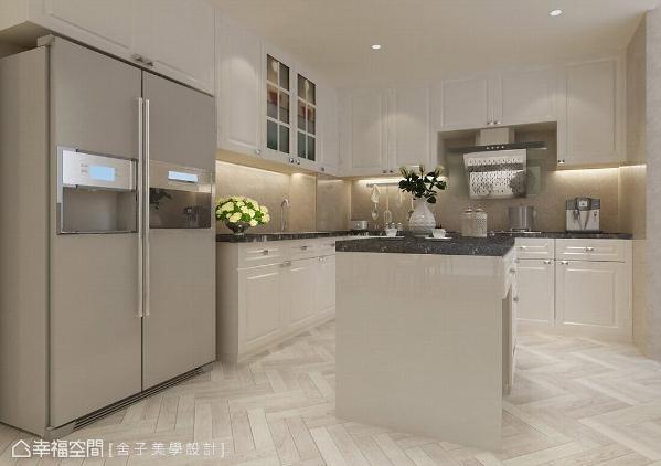 舍子美学设计为喜欢与亲友聚会的家庭,规划厨房与餐吧空间,流畅的出餐动线与收纳配置是最符合使用需求的! (此为3D合成示意图)