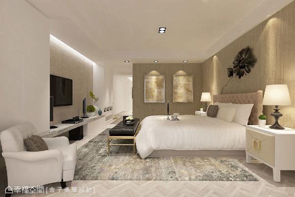 在空间中品尝一种闲情、一种雅致。主卧房以米黄色系呈现温润柔美,描绘最真实的情感空间。 (此为3D合成示意图)