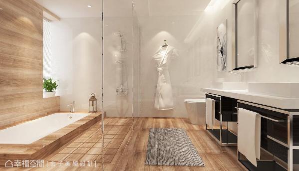 以木纹砖铺述卫浴空间,堆砌出温暖鲜明的气息;双脸盆的设置更符合男女屋主的生活需求。 (此为3D合成示意图)