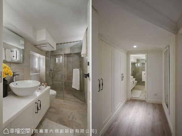 立面使用磁砖赋予仿石纹造型,散发出清爽自然的氛围;因位于地下室缺乏光线,适度运用照明提升空间亮度;入口走廊设置收纳柜和全身镜,让机能更符合实际生活需求。